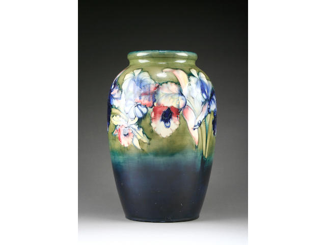 A large Moorcroft 'Orchids' vase, circa 1953