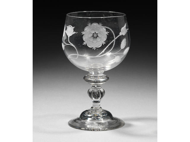 The Torpichen goblet. A large and important engraved Jacobite baluster goblet Circa 1745.