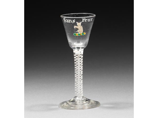 The Sutherland Wine Glass. A fine enamelled opaque-twist wine glass Circa 1765.