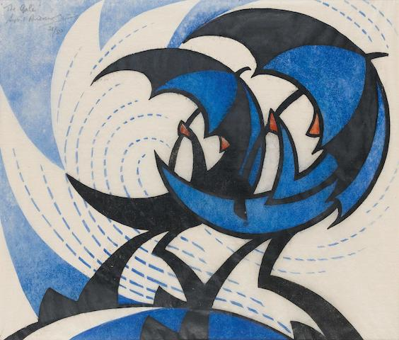 Sybil Andrews, CPE (British/Canadian, 1898-1993) The Gale (Coppel SA 11; White 11) Linocut, 1930, a strong impression, printed from three blocks in permanent blue, spectrum red and black, on buff oriental laid tissue, signed, titled and numbered 21/50 in pencil upper left; 260 x 300mm (sheet)