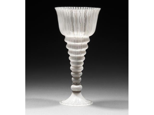 A very fine Venetian or façon de Venise latticino goblet Late 16th/early 17th century.
