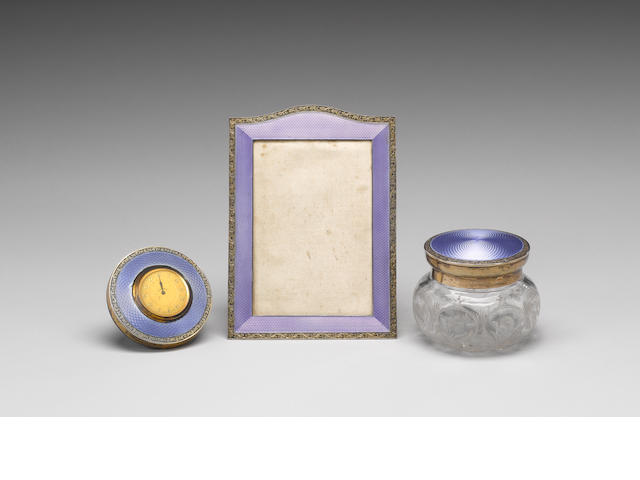 Silver/enamel photograph frame, two pots, pin tidy and hand mirror, travelling timepiece