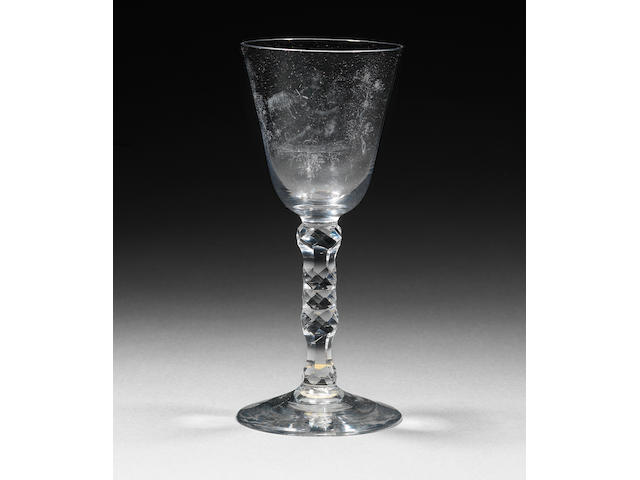 A fine and important Dutch stipple-engraved facet-stem goblet by Alius Circa 1770-75.