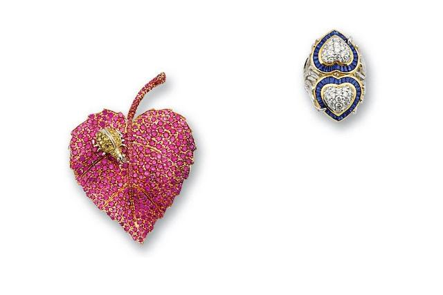 A sapphire and diamond ring and pink and yellow sapphire brooch suite
