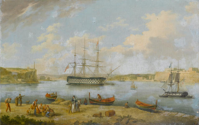 Anton Schranz (German, 1769-1839) HMS Britannia entering the Grand Harbour, Valletta; HMS Britannia