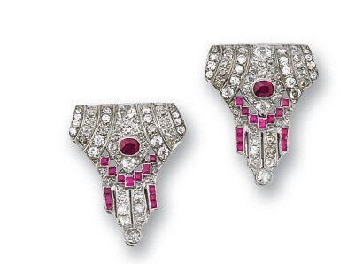 A pair of ruby and diamond clip brooches,