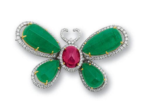 An emerald, rubellite tourmaline and diamond brooch