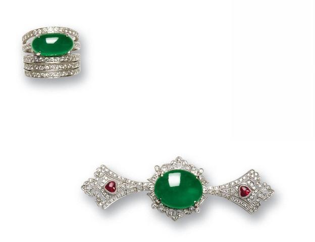 A jadeite and diamond suite