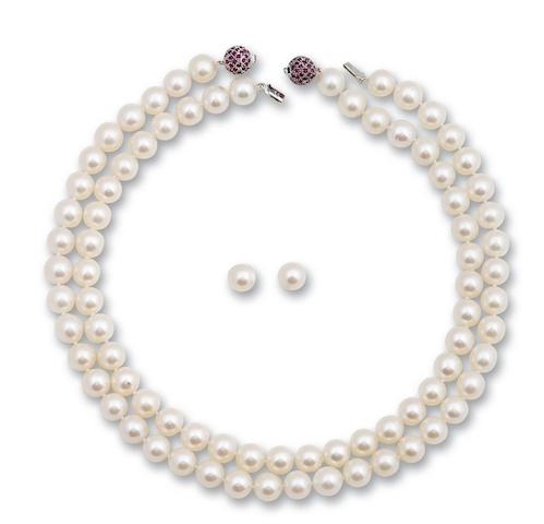 Two cultured pearl and ruby necklaces and a pair of cultured pearl earrings (3)