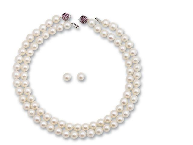 Two cultured pearl and ruby necklaces and a pair of cultured pearl earrings