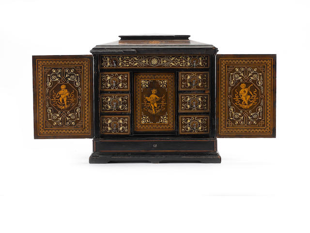 A 19th century Italian inlaid table cabinet, 38cm wide.
