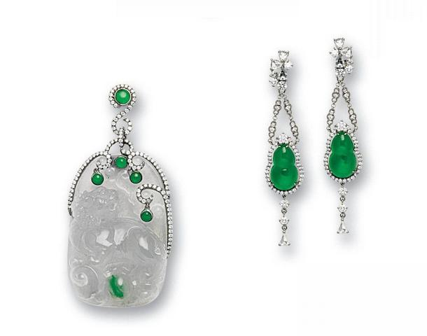 A jadeite and diamond pendant and earring suite