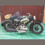 1934 BSA 986cc Model G34-14 Motorcycle Combination  Frame no. B14 430 Engine no. B14 411