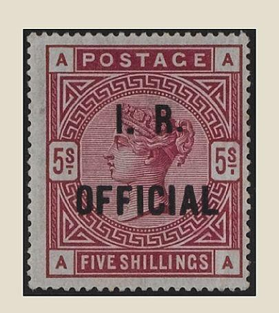 Officials: Inland Revenue: 1882-1901 5/- rose AA centred left, fine mint, very light vertical crease at right.