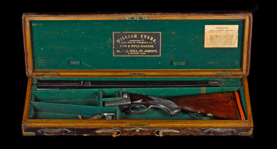 A fine .500 (3in) Express double-barrelled hammerless boxlock ejector rifle by W. Evans, no. 12123 In its brass-mounted oak and leather case with later brass plaque engraved William Evans 500 Express Double Barrelled Rifle 1926 (handle detached)