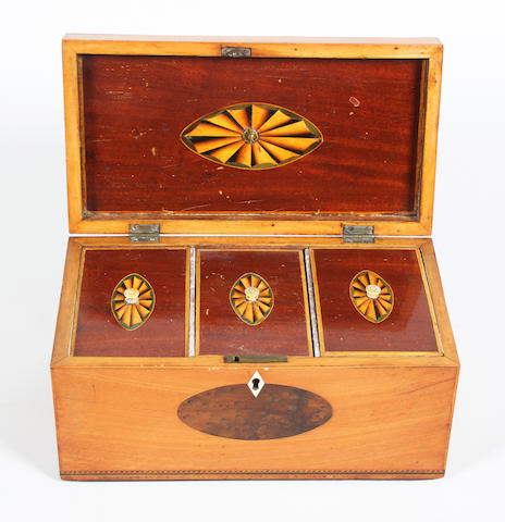 A George III satinwood and burr wood inlaid tea caddy