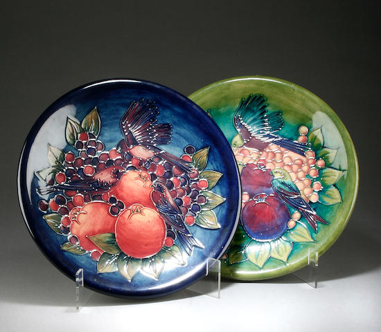Two Moorcroft 'Finches' chargers