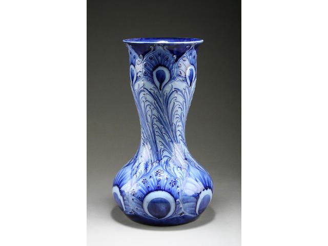 A Macintyre Moorcroft Florian Ware 'Peacock Feathers' vase Circa 1900