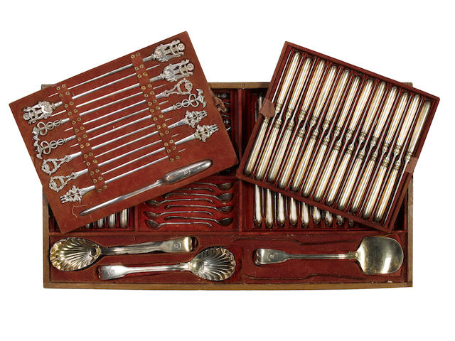 A William IV extensive silver and silver-gilt Fiddle and Thread pattern table service of flatware, c