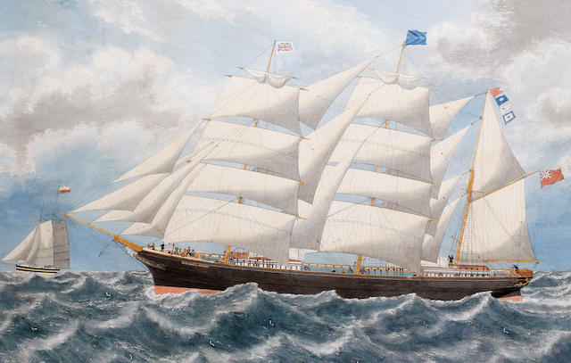 English School, 19th Century The Barque Victoria Cross on a breezy day; A three masted ship on a bre