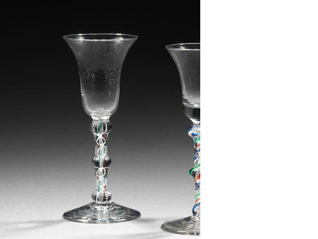 A colour-twist wine glass Circa 1770.