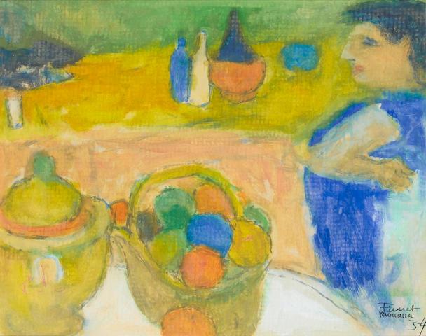 Fikret Mualla (Turkish, 1903-1967) Café scenes each