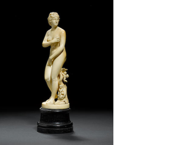 After the Antique: An early 19th century French carved ivory figure of the Venus de Medici
