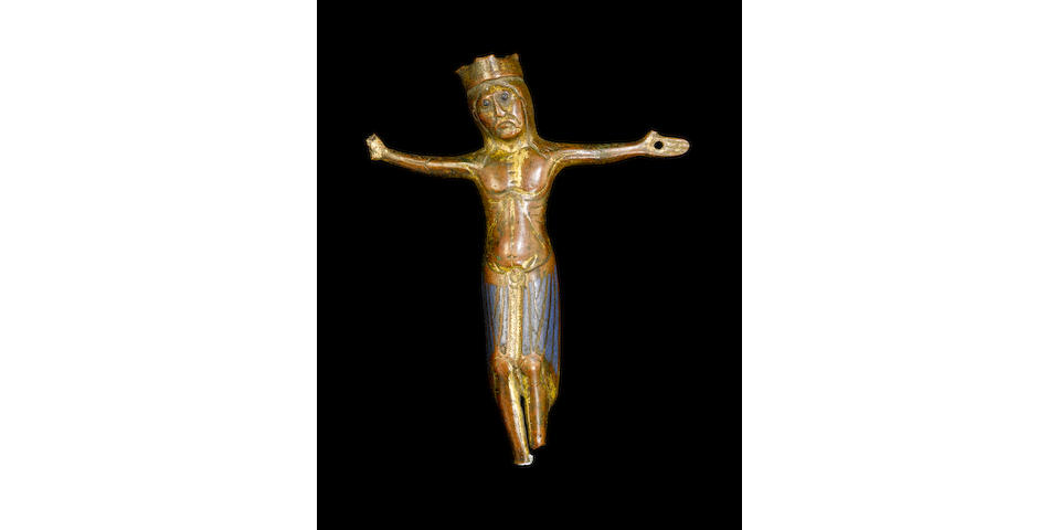 A first half 13th century Limoges gilt bronze and champlevé enamel Corpus Christi