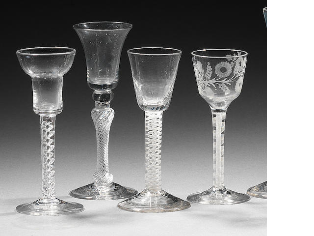 Two airtwist and two opaque-twist wine glasses 18th century.