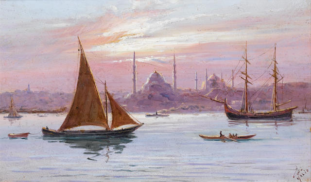 Halil Pacha (Turkish, 1857-died circa 1939) A view of Constantinople from the Bosphorus; View of the Bosphorus from Rumelihisari, a pair 18 x 30 cm (7¼ x 11¾ in) each