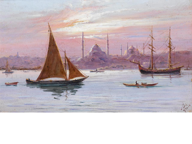 Pasa Halil A pair of Bosphorus scenes each 18 x 30 cm (7¼ x 11¾ in)