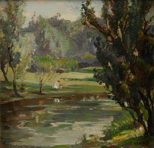 "Robert Hope, RSA (British, 1869-1936) ""The Pond, Botantic Gardens Edinburgh"" (together with another, 'A Woodland Glade, Newbattle Grounds')"