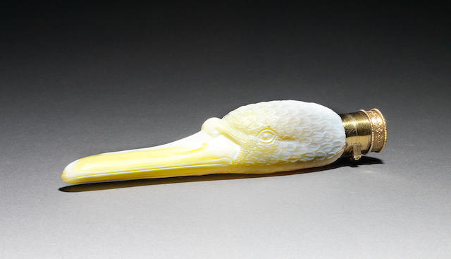 A fine Thomas Webb and Sons silver-gilt mounted cameo glass swan's head scent flask Circa 1885.