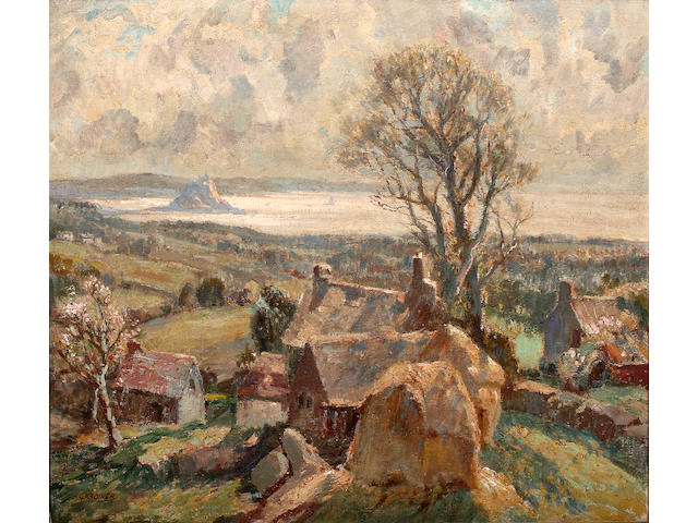 Stanley Horace Gardiner (British, 1887-1952) `Mounts  Bay from Boswarthen', on canvas, signed lower left, inscribed and bears label verso, 65.5 x 75cm