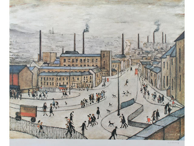 "Laurence Stephen Lowry R.A. (British, 1887-1976) ""Huddersfield"" limited edition colour print, signed in pencil, with blindstamp, from the edition of 850,"
