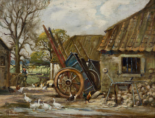 Harry Morley (British, 1881-1943) A farmyard