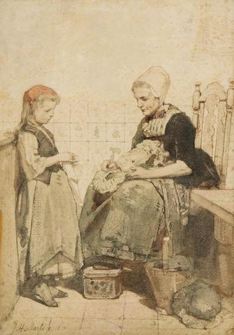 Jacob Henricus Maris (Dutch, 1837-1899) Helping grandmother