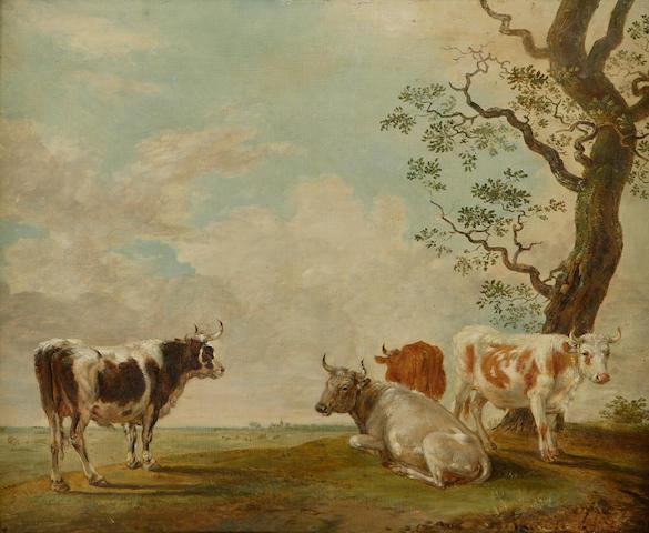Dutch School (19th C) Cattle in pasture