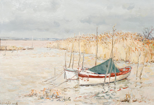 Jean Rigaud (French, 1912-1999) A port scene (Medoc region)