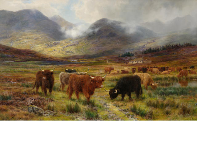 "Louis Bosworth Hurt (British, 1856-1929) ""Resting the drove - the hills of far Lochaber"""
