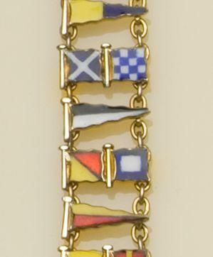 Sailing interest: A 9ct gold and enamel nautical flag bracelet, by Benzies