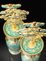An extremely rare pair of imperial cloisonné-enamelled and champlevé enamelled 'lingzhi' vases Qianlong four-character marks and of the period