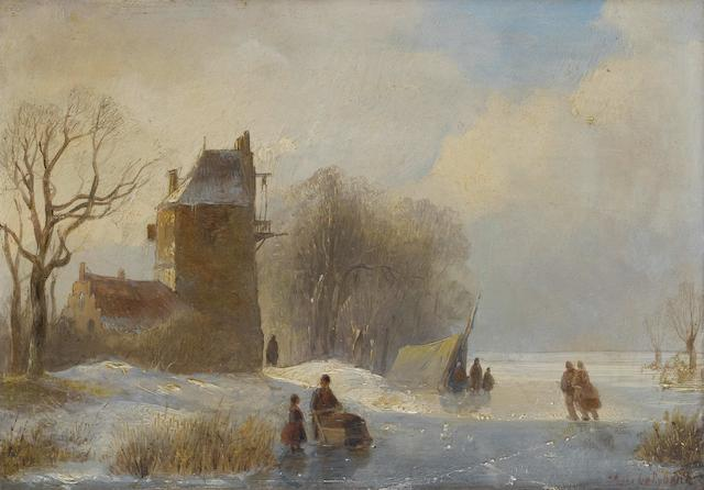 Andreas Schelfhout (Dutch, 1787-1870) Skaters on the ice by a farmhouse