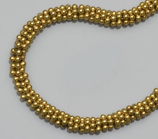 A hollow beaded necklace
