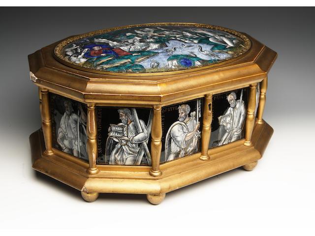 A large Limoges enamel casket