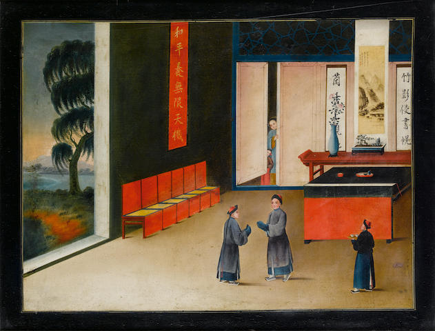 Anglo-Chinese School, late 19th century Domestic scene (image size)