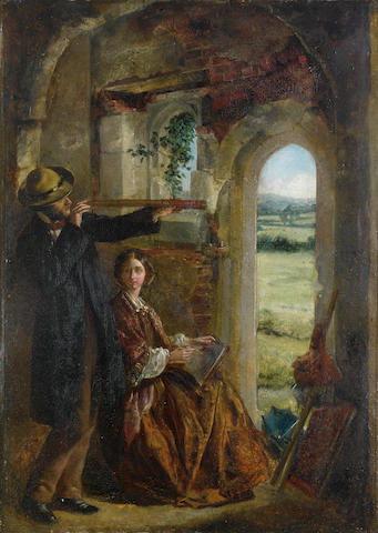 Circle of Sir John Everett Millais (British, 1829-1896) Young couple observing a landscape through a doorway 43 x 31cm.
