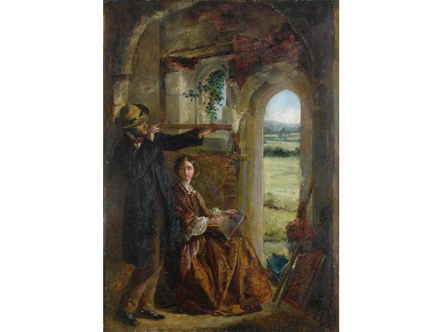 Circle of Sir John Everett Millais (British, 1829-1896) Young couple observing a landscape through a doorway 43 x 31cm.