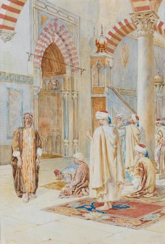 Petro Pavesi (Italian, early 20th century) Prayers in the mosque
