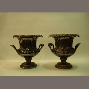 A pair of 19th Century Old Sheffield Plate two-handled wine coolers unmarked, circa 1840